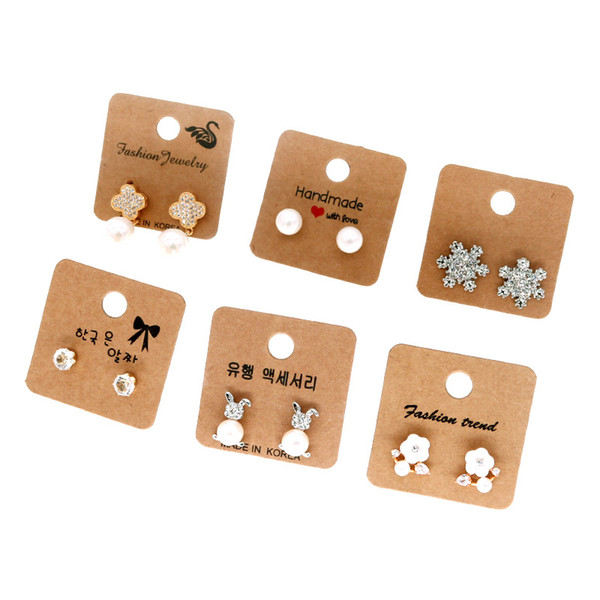 200pcs/lot Earring Necklace Charm Jewelry Decoration PCAKAGING Hang Tag Cards Colorful 4x4cm Label Price Card