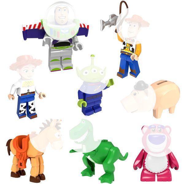 Mini Toy Action Figure Pump Buzz Woody Jessie Cowgirl Alien Bulleye Lotso Rex The Green Dinosaur Hamm The Piggy Bank Building Blocks