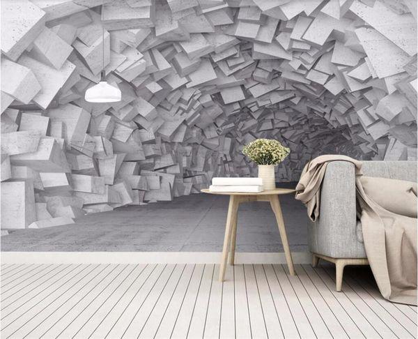 benutzerdefinierte größe fototapete 3d wandbild wohnzimmer bett zimmer tunnel steinmauer 3d bild sofa hintergrundbild wandbild vlies aufkleber
