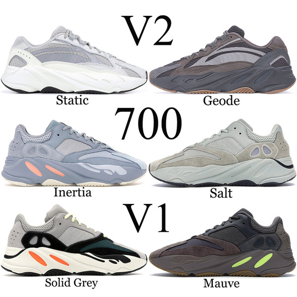 best selling 700 Wave Runner 2019 Mauve Solid Grey Men Running Shoes Best Quality Kanye West Designer Shoes Sport Sneakers 36-46 With Box