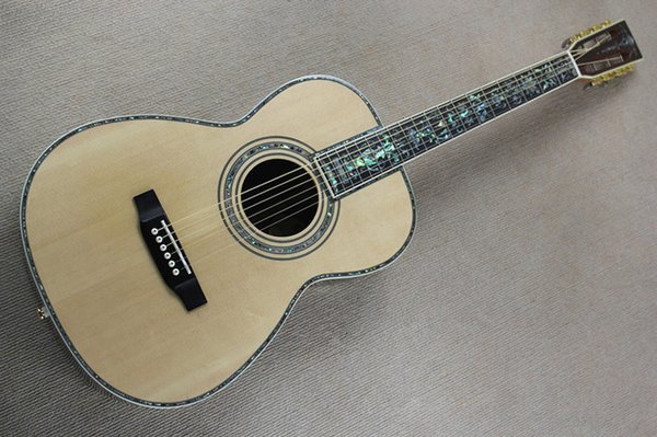 Solid top 41 inch Original Acoustic guitar with Bone nut/saddle,Colorful pearl inlay,Rosewood fingerboard,Golden hardware,Can be customized