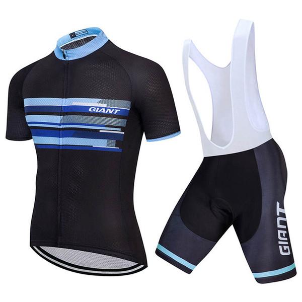 Verano GIGANTE Hombres Pro Team Ciclismo mangas cortas jersey babero cortos conjuntos MTB Ciclismo Jersey transpirable ropa deportiva de secado rápido Y53105