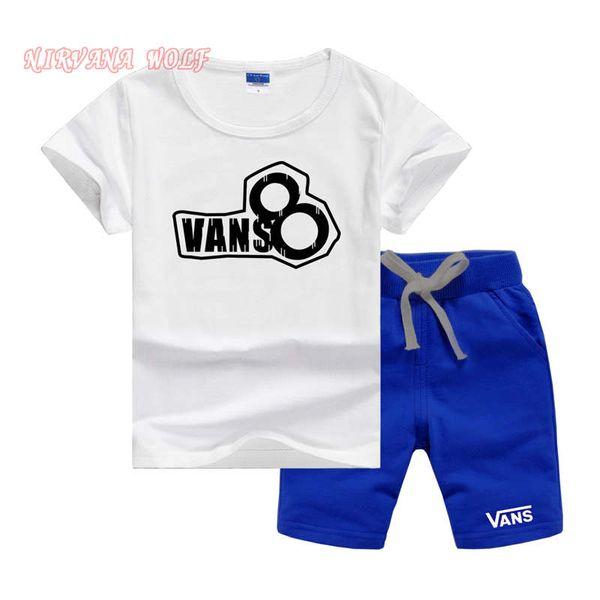 VansLogo Lüks Tasarımcı Bebek Erkek Ve Kız T-Shirt Ve Şort Takım Marka Eşofman 2 Çocuk Giyim Seti Sıcak Satmak Moda Yaz Çocuk