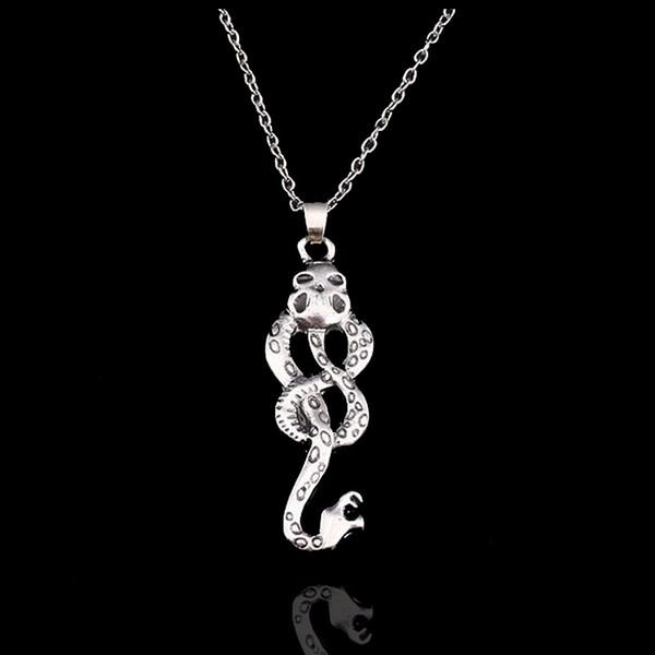 Nueva joyería de moda de la película Harry Style Horcrux Snake Necklace Women Lady Antique Silver Snake Collares pendientes