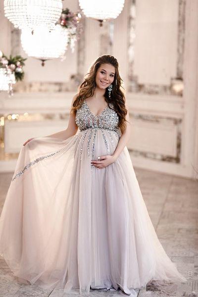 African Sequin Mutterschaft Abendkleider Babyparty-Abend-Kleider mit Tüll-Rock-lineSleeveless V-Ausschnitt Tulle-Abend-Partei-Kleid 66
