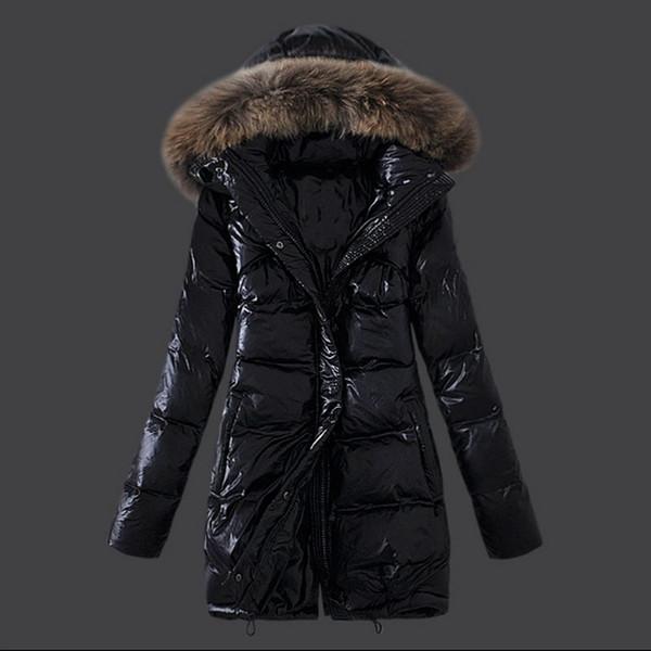 Nuevo collar de piel de mapache para mujer abrigo de invierno de alta calidad abrigo largo abrigo largo abrigos de invierno abrigos de Down Parka Abrigo abrigos