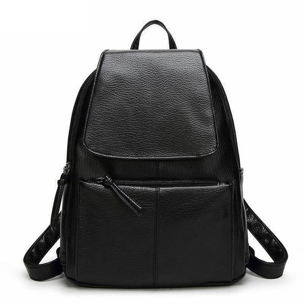good quality Hot Sale Women Backpacks Simple Casual Pu Leather School Bags For Teenage Girls High Quality Women Bags Mochila