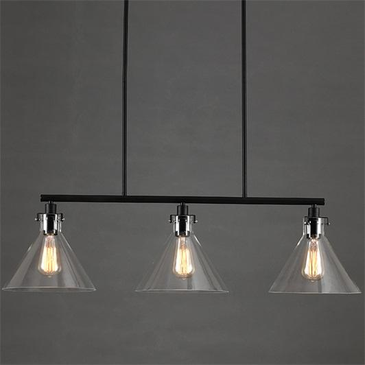 Contemporary Black Metal 3 Light Linear Island Pendant Light With Clear Glass Funnel Shade 110v Living Room Ceiling Light Fixtures Kitchen Pendant