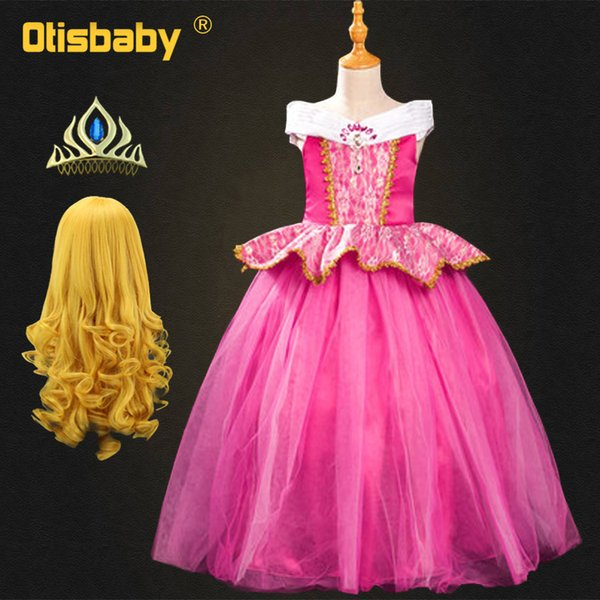 Fancy Princess Aurora Dress for Children Girls Sleeping Beauty Dress Disguise Child Costume Halloween Outfits Kids Fairy Wig