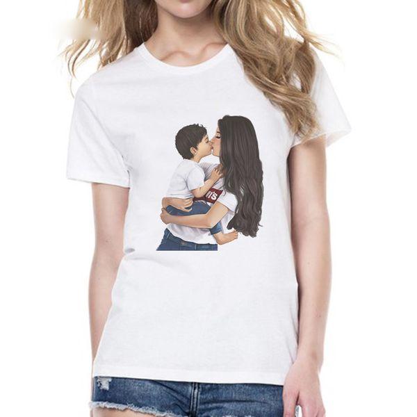 Mutter Liebe T-shirts Für Frauen Jungen Mama Sohn Engel Top Sommer T-shirt Frauen Neuheiten 2019 Vogue T-shirt Muttertag