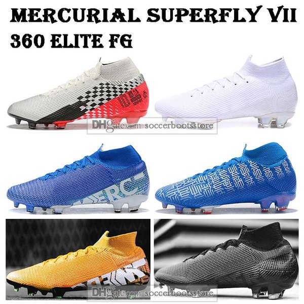 Bambini alla caviglia alta Scarpe da calcio giovanile CR7 Mercurial Superfly VII 360 Scarpe Elite FG di calcio degli uomini Donne Neymar JR Superfly 7 di calcio dei morsetti