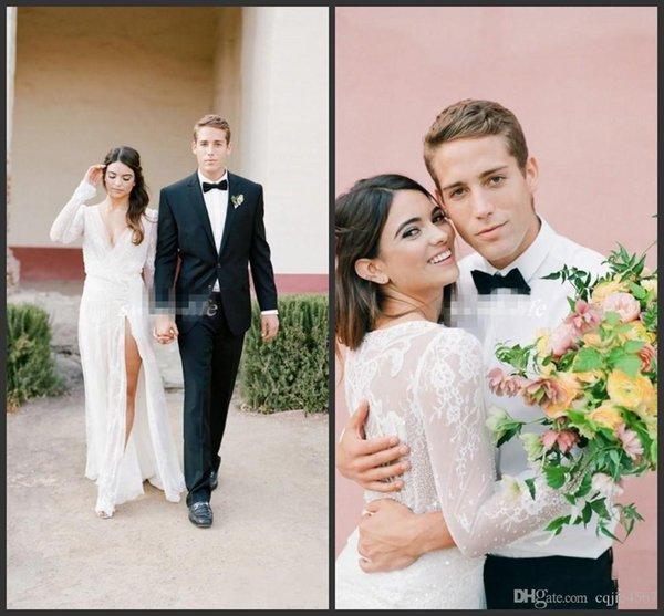Estate Sexy High Side Split Abiti da sposa manica lunga guaina profondo scollo av pizzo 2019 nuova illusione della boemia abiti da sposa abiti da sposa