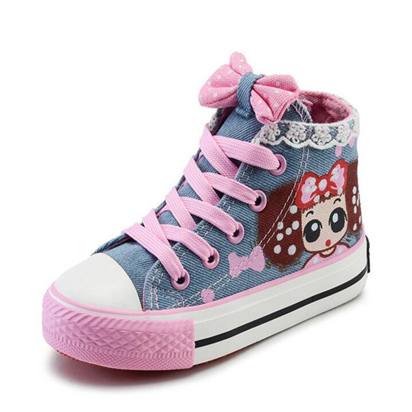 2019 Popular Flat Denim Girls Shoes Cartoon Lace High To Help Bow Children Canvas Shoes Princess Casual Breathable Kids Shoes Y190525