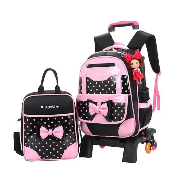 2019 New Brand Girls three Wheeled Backpack Set Cute Bow Children Trolley School Bag Set Dot Pattern Waterproof Kid Book Bag