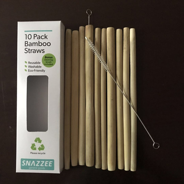 10 pcs/set Natural Bamboo Drinking Straws with Straw Clean Brush Eco-Friendly Sustainable Bamboo Straws Reusable Straws DBC VT0190