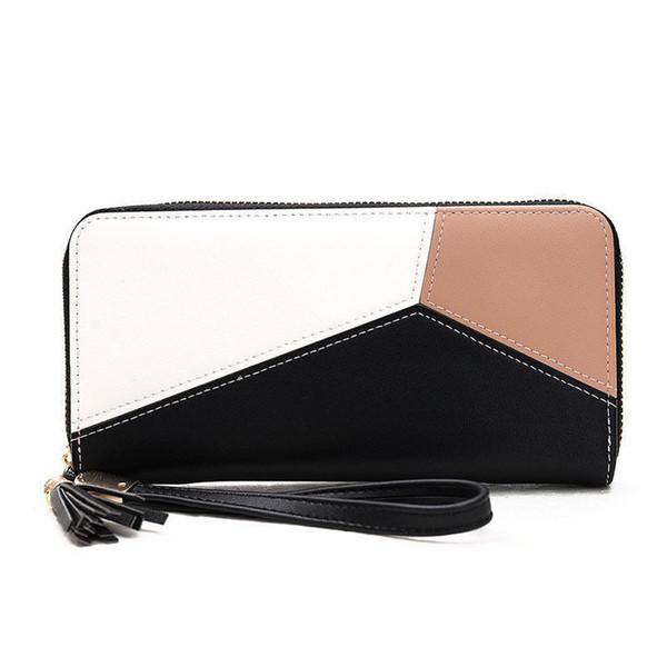 Women's New Winter Handbag Long Paragraph Simple Casual Hit Color Wallet Stitching Fashion Zipper Wrist Bag Student Phone Bag