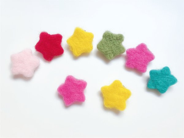 Wholesale Boutique 30pcs Fashion Cute Felt Star Hairpins Solid Mini Candy Color Star Hair Clips Princess Headware Hair Accessories
