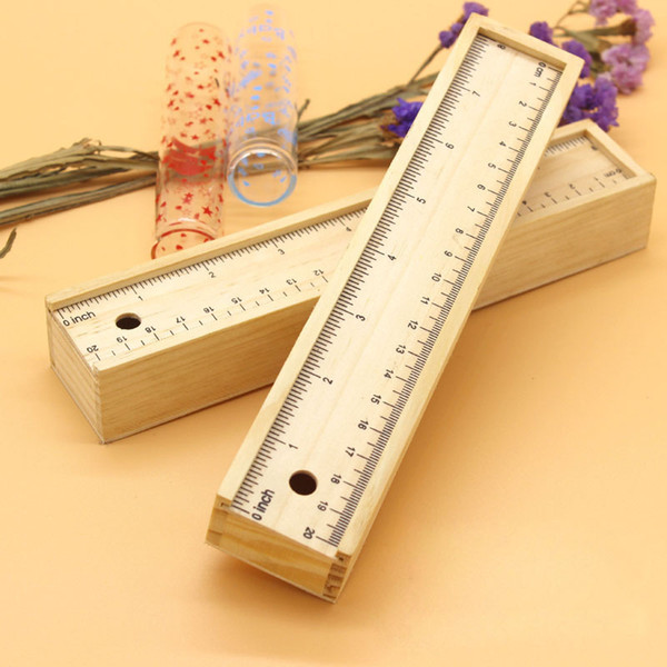 best selling Wood Pencil Box with Ruler Set Wooden Pencil Case Stationery Storage Box Supplies