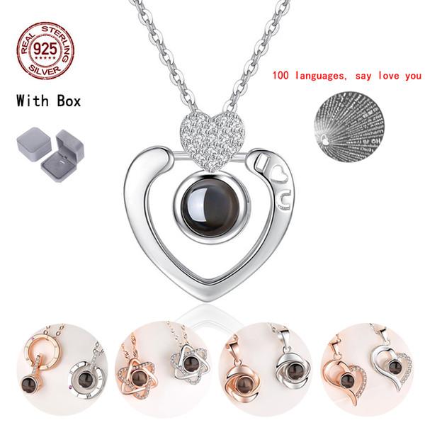Damen anhänger halsketten kristall choker 925 sterling silber 100 sprache ich liebe dich ehefrau geschenk schmuck valentinstag geschenk j190525