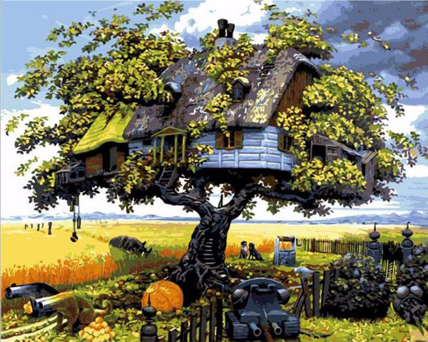 Fantasy Tree House DIY Painting By Numbers Drawing By Painting Kits Painting Hand Painted On Canvas For Home Wall Art Picture Poster