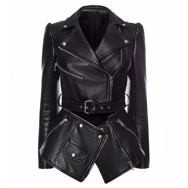 New high end quality 2019 British wind female jacket removable hem inclined zipper leather coat of cultivate morality
