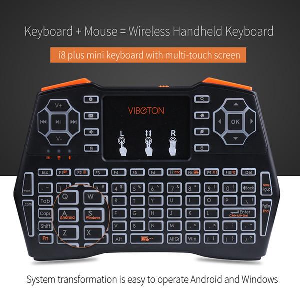 i8 + Mini tastiera wireless con retroilluminazione 2.4 ghz mouse con telecomando touchpad per Android TV Box proiettore TV