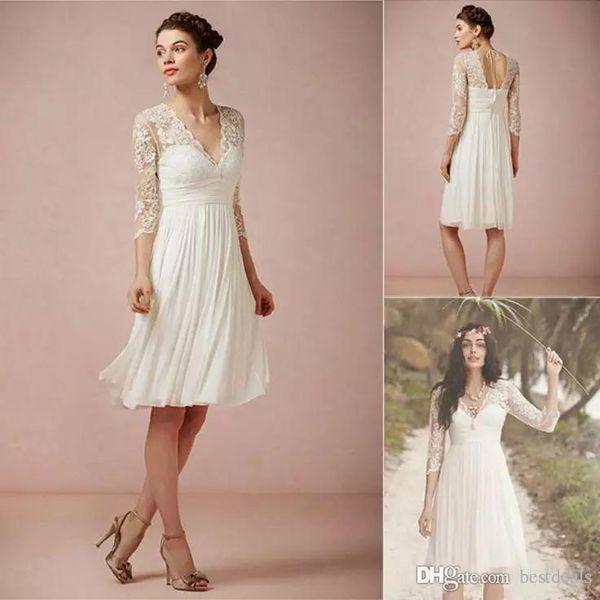 Summer Beach Short Lace Chiffon Wedding Dresses Ivory Sheer V Neck Illusion Half Sleeves Vintage Knee Length Bridal Gowns