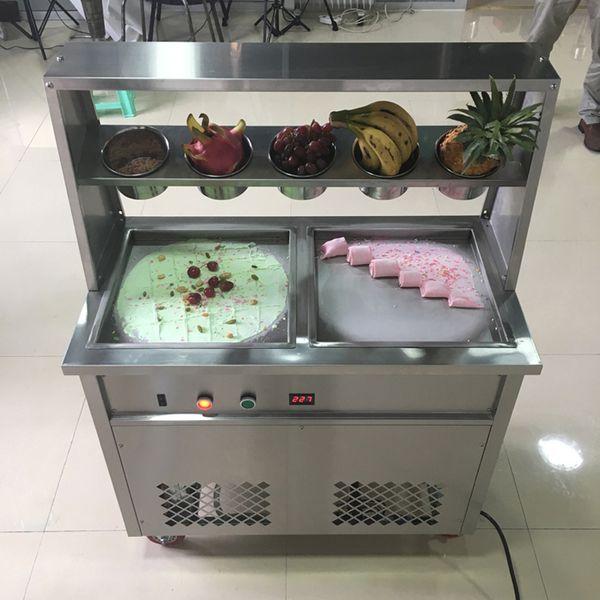 Mejor venta frito de hielo máquina de crema doble cuadrado máquina de rollo de pan frito helado de crema máquina de hielo de doble rodillo compresor de la leche