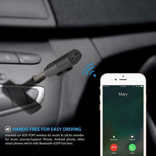 Receptor de audio Bluetooth con clip 3.5AUX Altavoz para auriculares para automóvil 2 en 1 Llamadas Receptor para automóvil Adaptador de música Bluetooth
