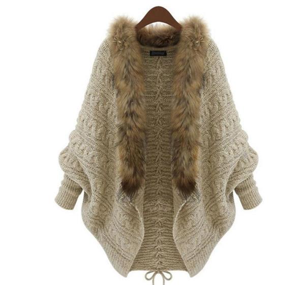 Wholesale- Luxury Women Loose Faux Fur Collar Cardigan Lady Autumn Winter Warm Batwing Sleeve Sweater Female Knitwear Coat Outwear