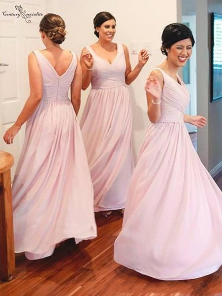 Wanshandress V-Neck una linea di abiti da sposa senza maniche sexy del V-back Pieghe Lunghezza Piano Lungo abito da damigella d'onore