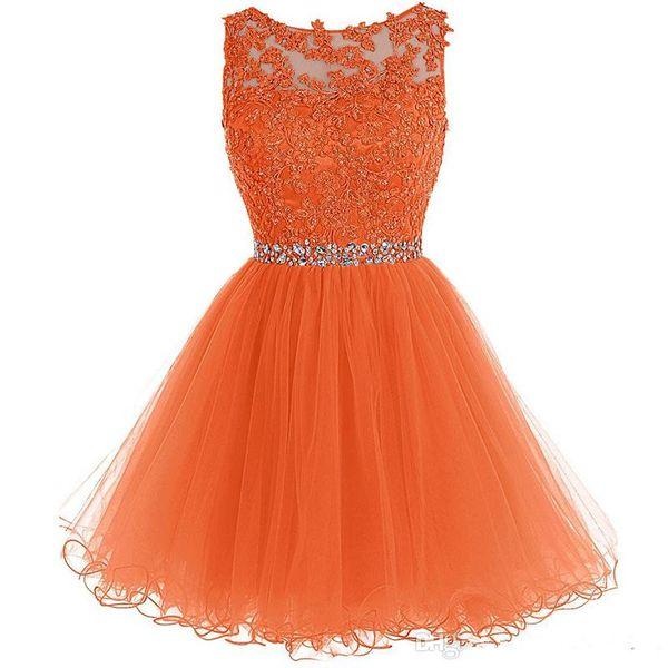 Toptan Kristal Aplikler Kısa Mezuniyet Elbiseleri Sheer Jewel Boyun Keyhole Geri Kızlar Için Bir Çizgi Kokteyl Parti Törenlerinde 2018 Yeni Varış