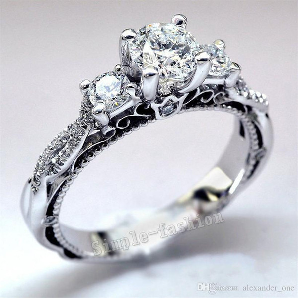 2017 NOW 925 Sterling silver Engagement Wedding Bride Jewelry Luxury 2ct Round cut Diamond RING Women Three Side Stone cz Ring Size 5-10