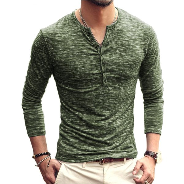 SHOKOTANO Camicia da uomo Henley Manica lunga Elegante Slim Fit T-shirt Colletto con bottoni T-shirt casual Uomo Capispalla T-shirt design popolare SH190828