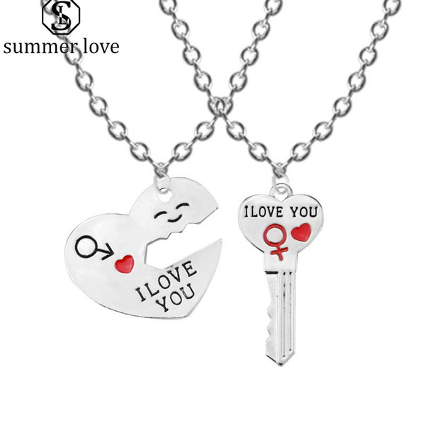 db351bb7530c0 Hot sale I Love You Heart Pendant Necklace Keychain Jewelry Set for Women  Couple Romantic Key