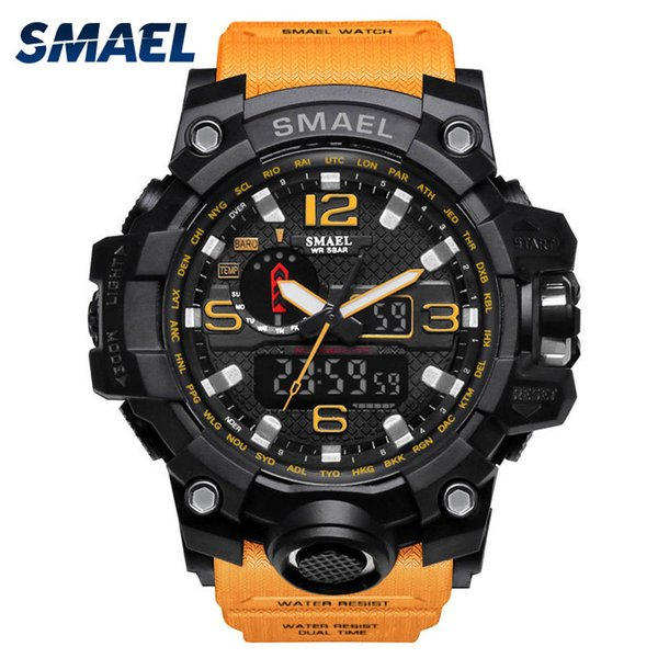 Orange Wrist Watch Men LED Clock Digital Watch Date Watproof Sport Wristwatch Stopwatch Alarm 1545 Mens Watches Military Army