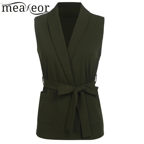 meaneor Sleeveless Casual Turn-down Collar Women Pocket Solid Sexy Vest with Belt