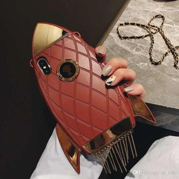 YunRT Fashion Brand 3D Rocket Diamond Leather Metal Tassel phone case for iphone 7 7plus 8 8 plus X XS 6 6S girl women cute cover