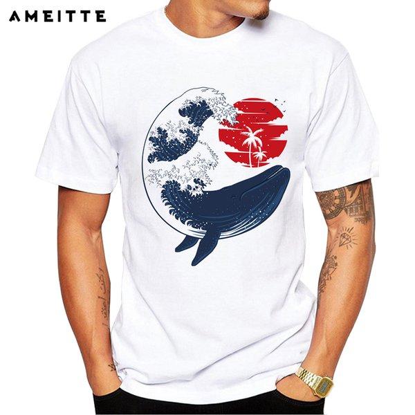 2019 T-Shirt AMEITTE Fashion Whale Wave T-shirt novità da uomo con stampa animalier T-shirt estiva confortevole morbida a maniche corte