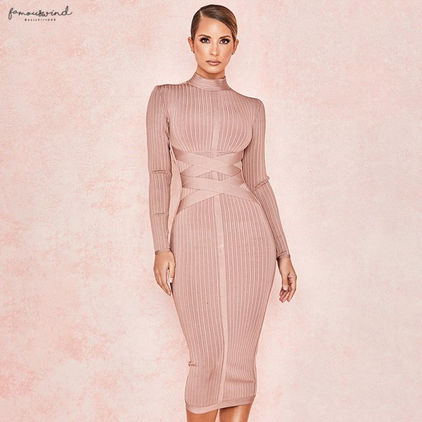 Dress Long Sleeve New Strap Ribbed Nude Casual Dresses Christmas Womens Cross Fashion Sexy Bodycon Pattern Winter Knee-Length Bandage