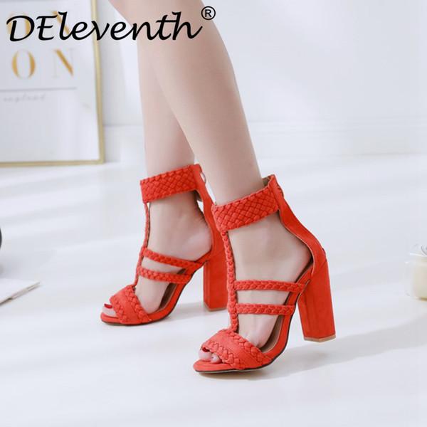 Оптовая новая мода 2018 Женская обувь сандалии peep toe молния тканые ремень блок высокие каблуки сандалии Гладиатор платье обувь