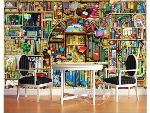 Custom 3D Silk Photo Mural Wallpaper Cartoon hand-painted bookshelf bookcase children's room fairy mural background wall stickers