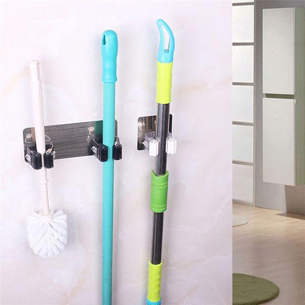 UK Hot Mop Holder Wall Mounted Brush Broom Hanger Storage Rack Kitchen Organizer