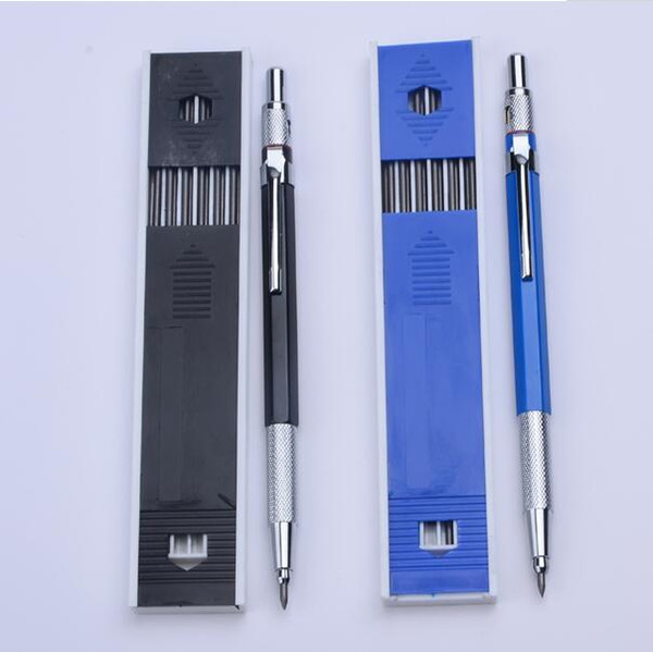 Metal Mechanical Pencils 2.0 mm 2B Lead Holder Drafting Drawing Pencil Set with 12 Pieces Leads Writing School Gifts Stationery cny1430