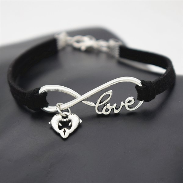 Drop Shipping Women Men Boho Bracelets & Bangles Infinity Love Double Dolphin Animal Heart Single Black Leather Suede Cuff Wrap Jewelry Gift