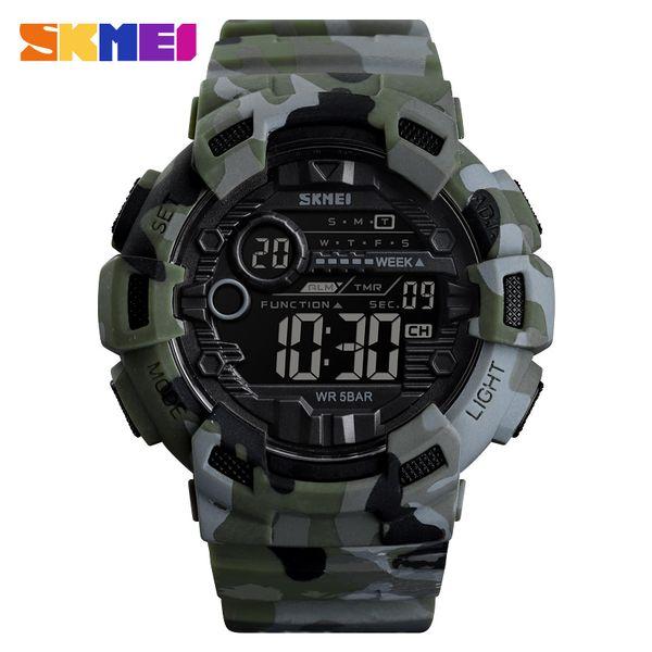 SKMEI 1472 Camouflage Sport Watch Men Fashion Waterproof Digital Clock Cowboy Week Display Men Watches Denim Watch Relogio Masculino