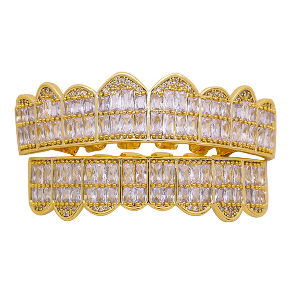 Hip Hop Gold Teeth Grillz Top & Bottom Grills Dental Mouth Punk Teeth Caps Cosplay Party Tooth Rapper Jewelry