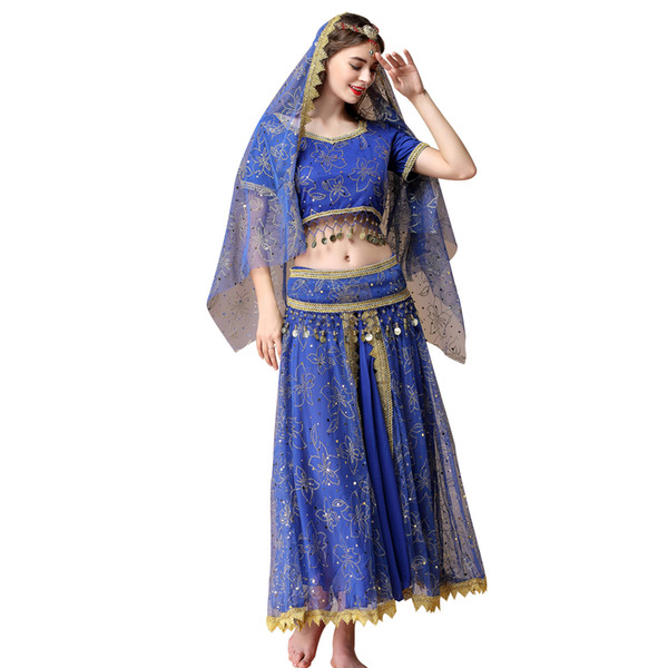 2019 Belly Dance Costume Bollywood Dress Sari Dancewear Indian Dance Clothing Gypsy Costumes for Women/Girls(Top+belt+skirt+veil+headpiece)