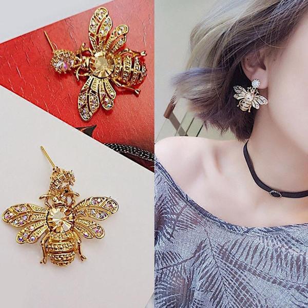 Women Fashion Honey Bee Earring Honeybee Rhinestone Ear Studs Jewelry Gift