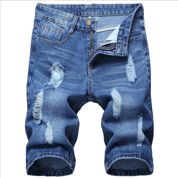 Men Summer Holes Denim Shorts Blue Short Jeans Men Straight Casual Jean Shorts New Male Solid Blue Denim Size 36